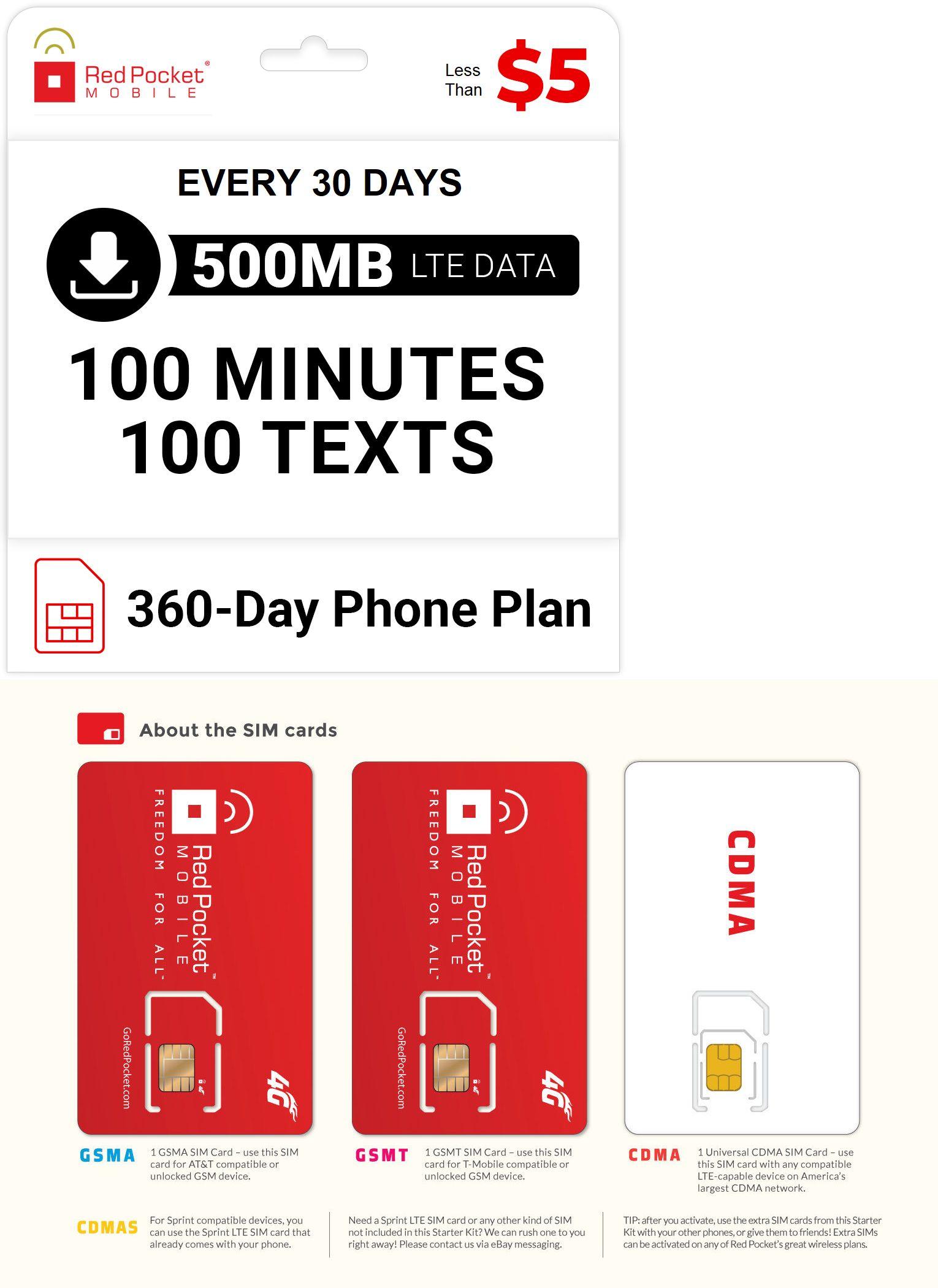 Sim Cards 29778 5 Mo Red Pocket Prepaid Wireless Phone Plan Sim 100 Talk 100 Text 500mb Buy It Now Onl Phone Plans International Sim Card Iphone Sim Card