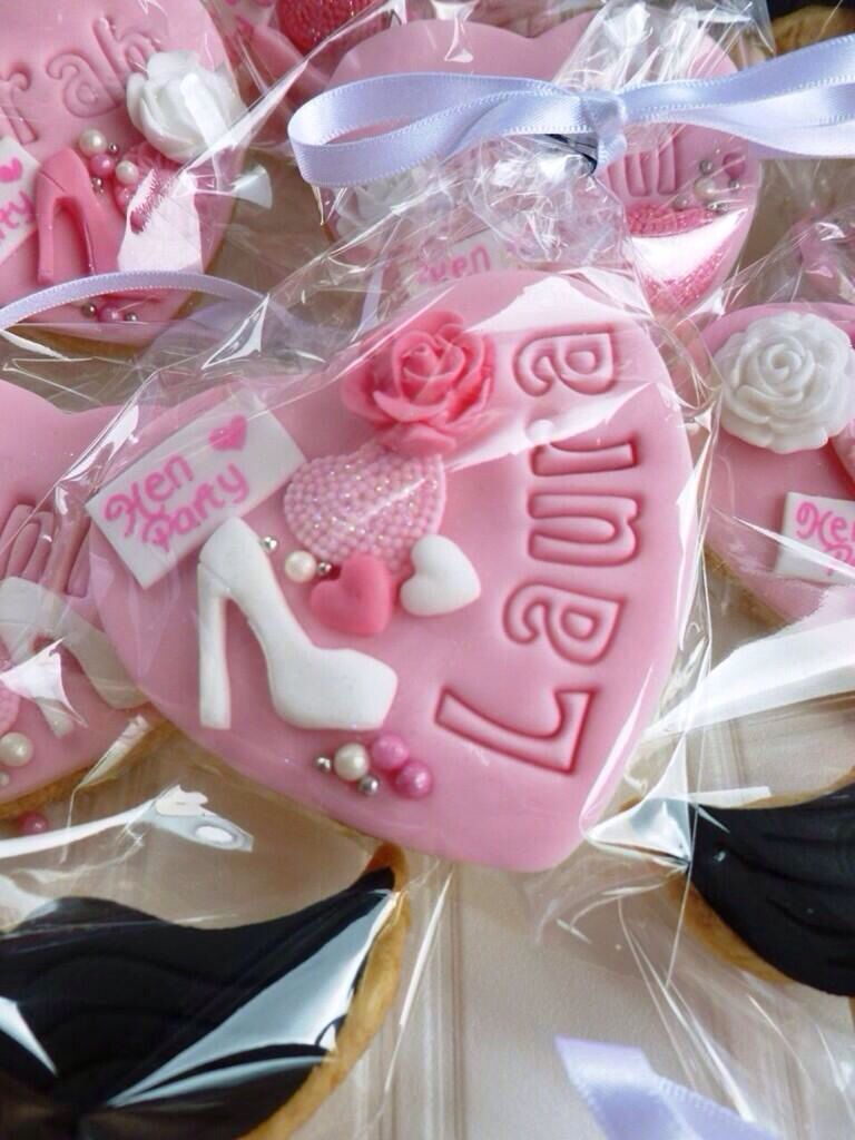 Pink hen party cookies with stilettos lips hearts roses & pearls ...