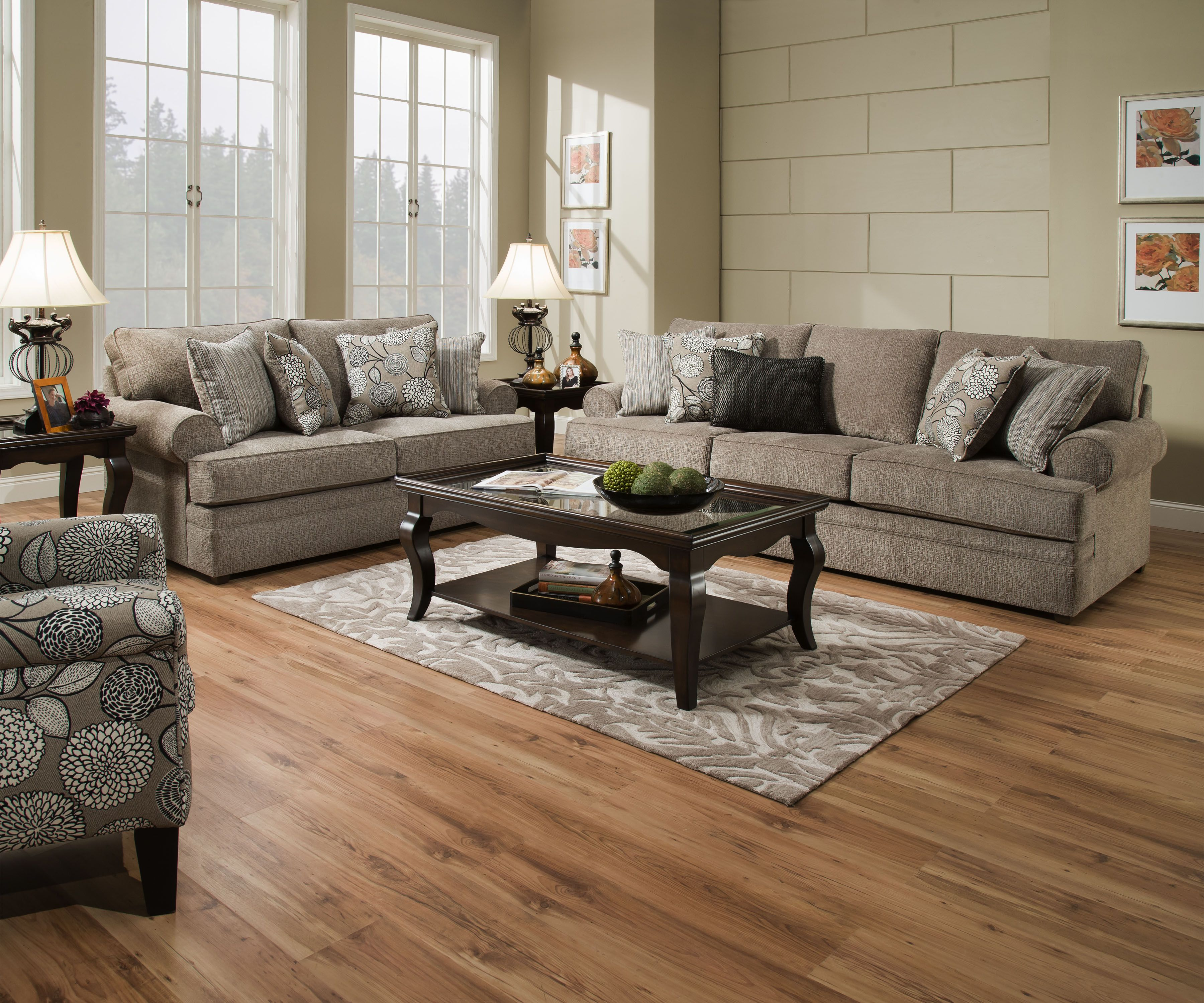Macey Pewter Sofa And Love Seat Beautyrest By Simmons With Pocket Coil  Cushions Includes Toss Pillows