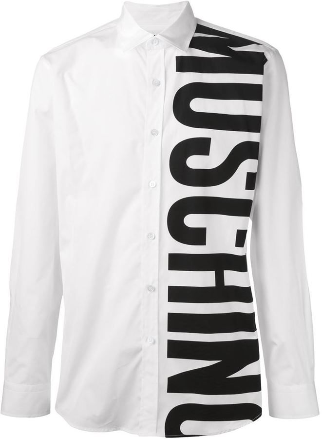 f7885f526ed6 Moschino logo print shirt Mens Designer Shirts, Printed Shirts, Shirt  Designs, Shirt Style