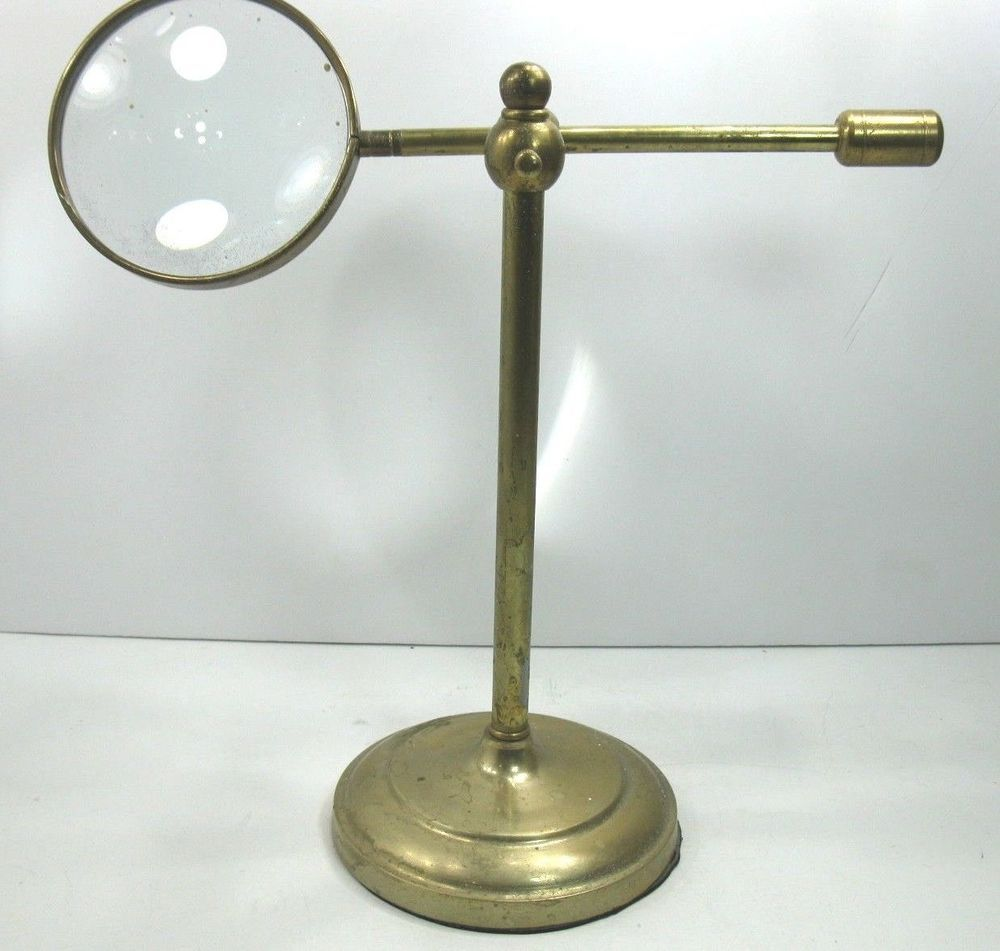 Antique Vintage Jeweler S Adjustable Brass Magnifying Glass On A
