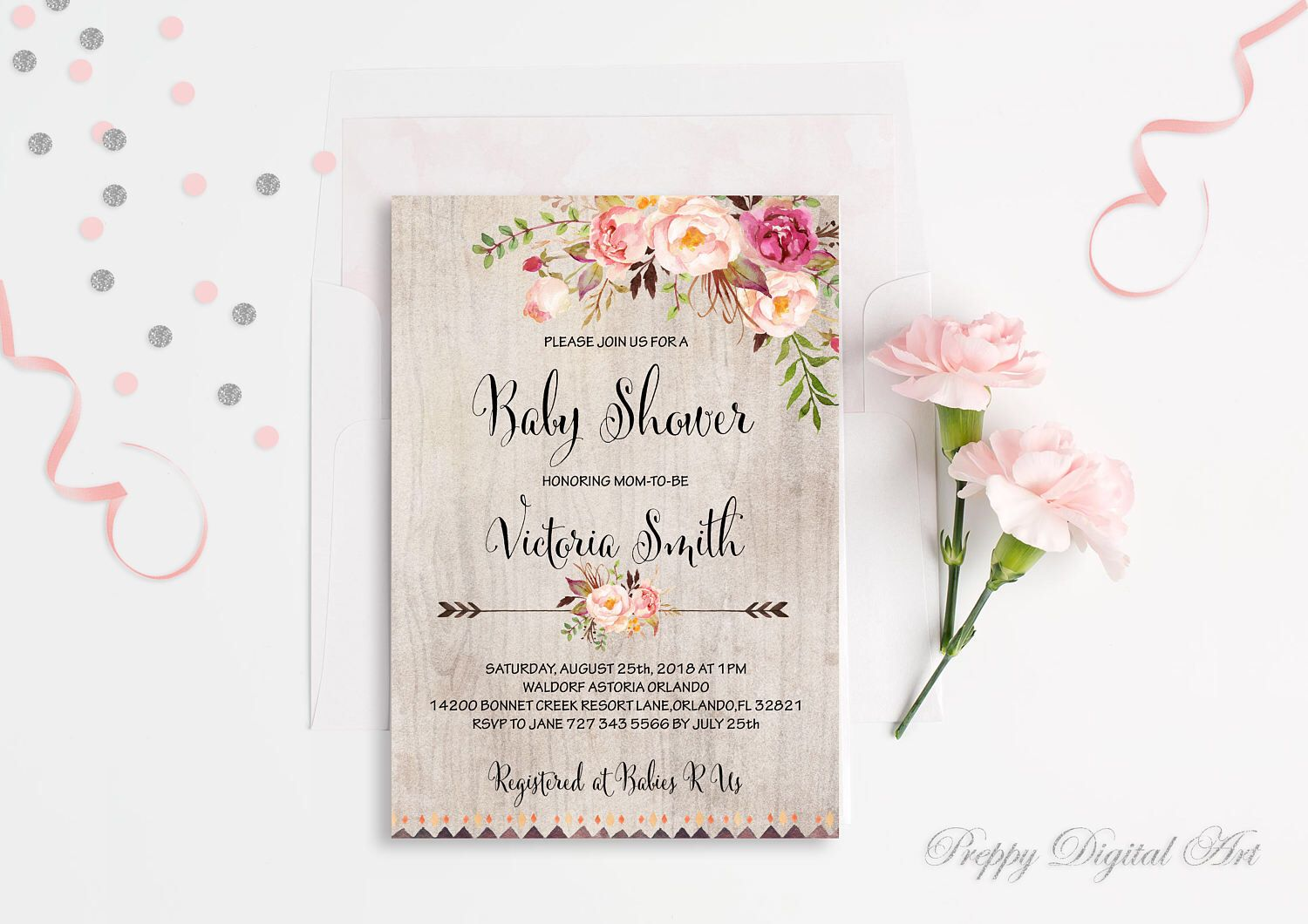 Boho Baby Shower Invitation Printable Floral Baby Shower Invite ...