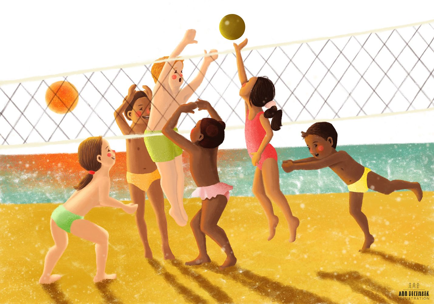 Kids Playing Volleyball At The Beach Illustration Illustration Kinder