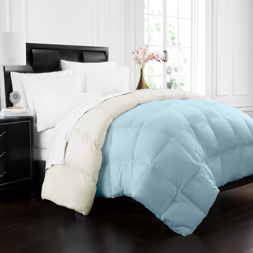 reversible down series luxury premium comforter hypoallergenic alternative beckham goose all pin hotel collection