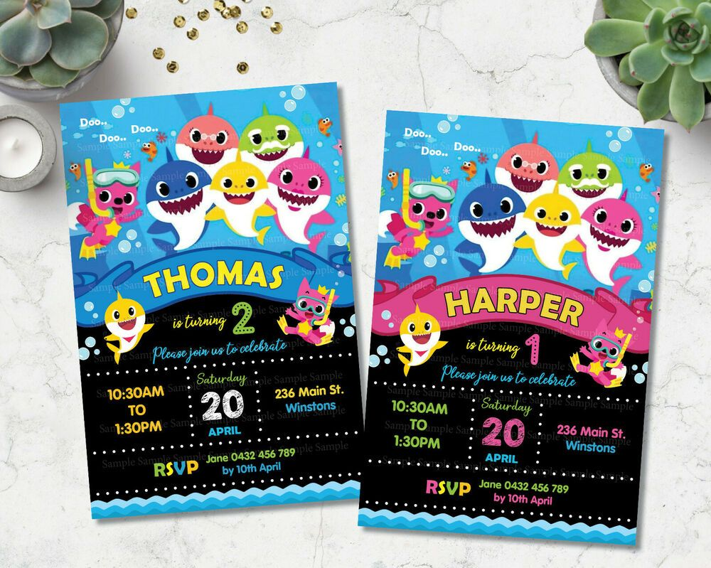 BABY SHARK 1ST BIRTHDAY PARTY PERSONALISED INVITATIONS BOY
