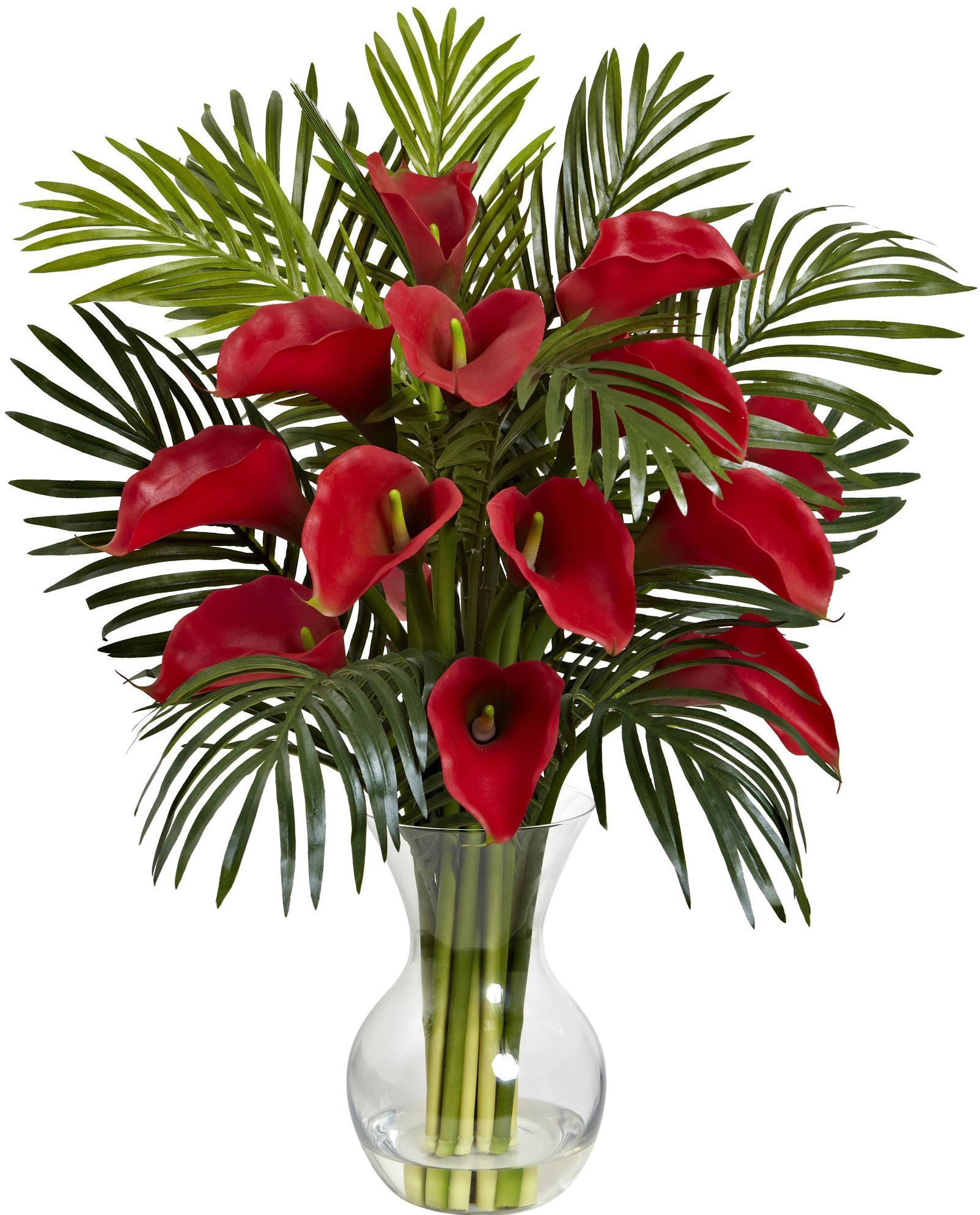 Flower Arrangements Calla Lily And Areca Palm Silk Flower Arrangement With Vase