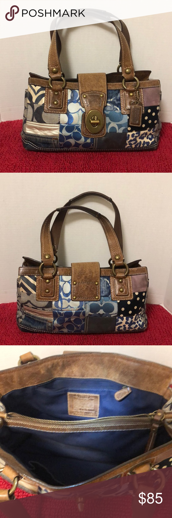 47037eae9437 ⤵️TODAY 16%⤵ Coach Patchwork Signature Handbag Coach Signature Patchwork  Handbag. With