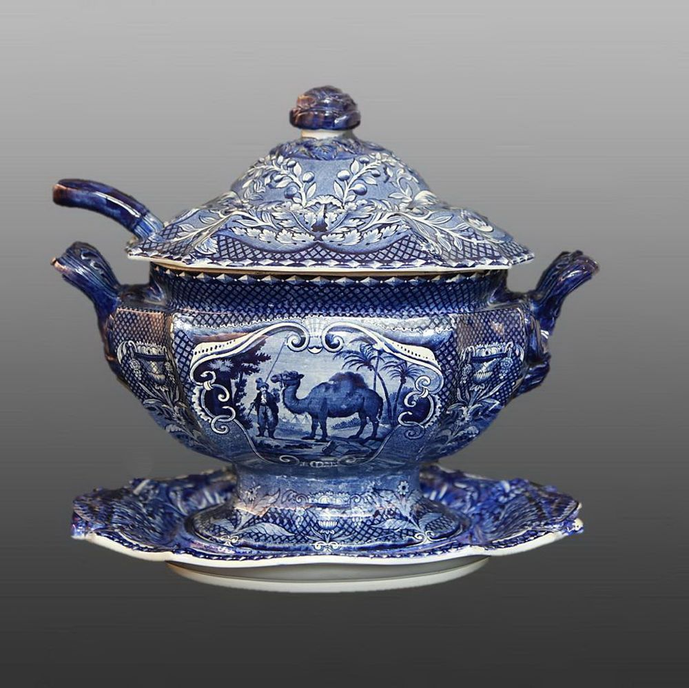 1900s Antique French SAINT-AMAND White Ironstone Footed Tureen Blue transferware Decor