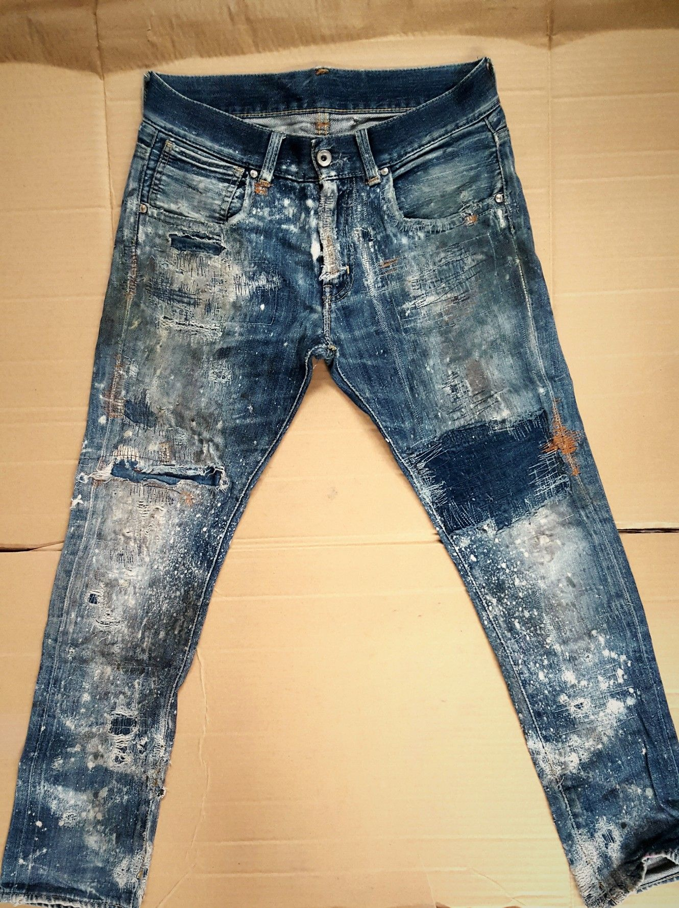 BYWX-Men Workwear Ripped Hole Jeans Destroy Slim Fit Short