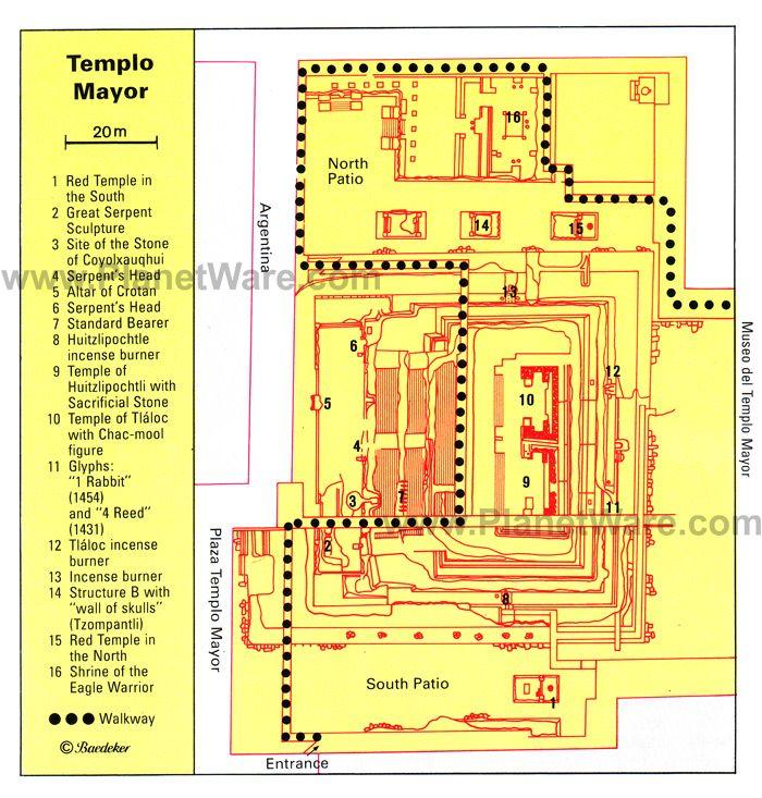Templo Mayor Floor plan map Travel Mexico Pinterest City