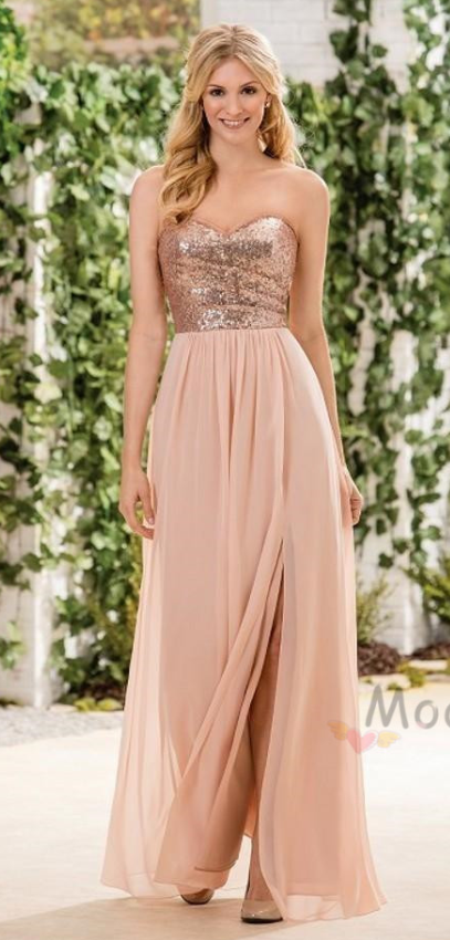 8a39ffee14 Sweetheart Rose Gold Long Bridesmaid Dress from modsele in 2019 ...