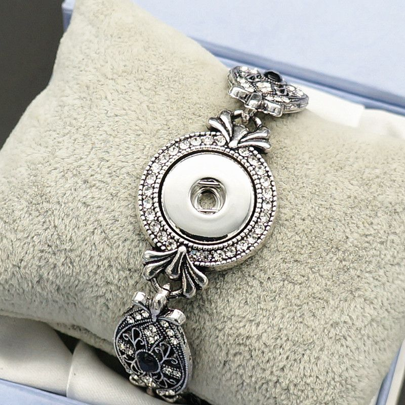 New Fashion SG0113 Vintage Crystal pattern Metal charm snap Bracelet Bangle 19cm fit 18MM snap buttons jewelry