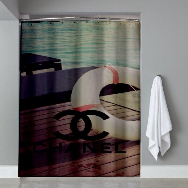 Chanel Logo Vintage Beach Shower Curtain
