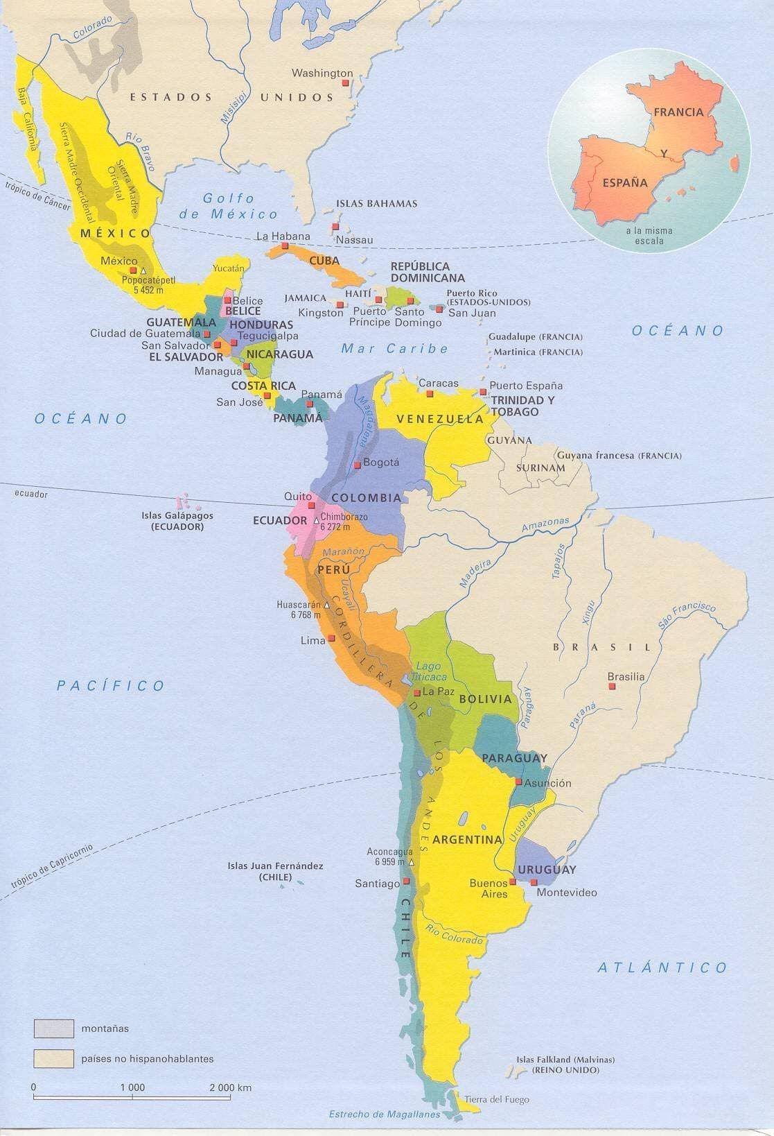 2 A Norte Confinas Con Los Estados Unidos A Este Con L Oceanos Atlantico Al Oeste Con L Oceano Pacifico A Sur Hay La Llam Mapa De America Islas Antillas Mapas