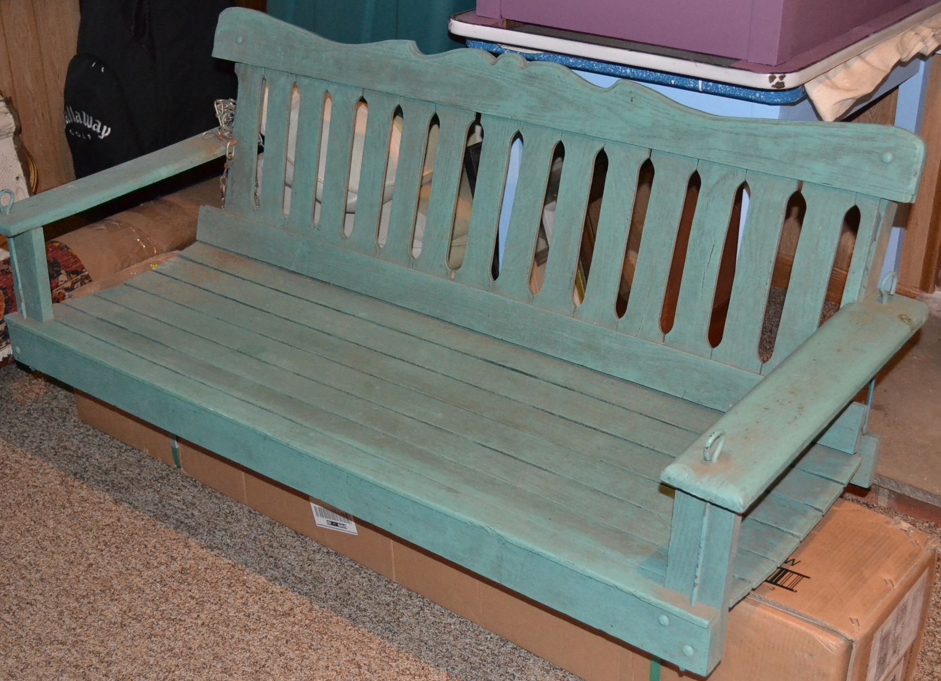 Vintage Painted Wood Porch Swing Vintage Porch Swings Porch Swing Deck Makeover