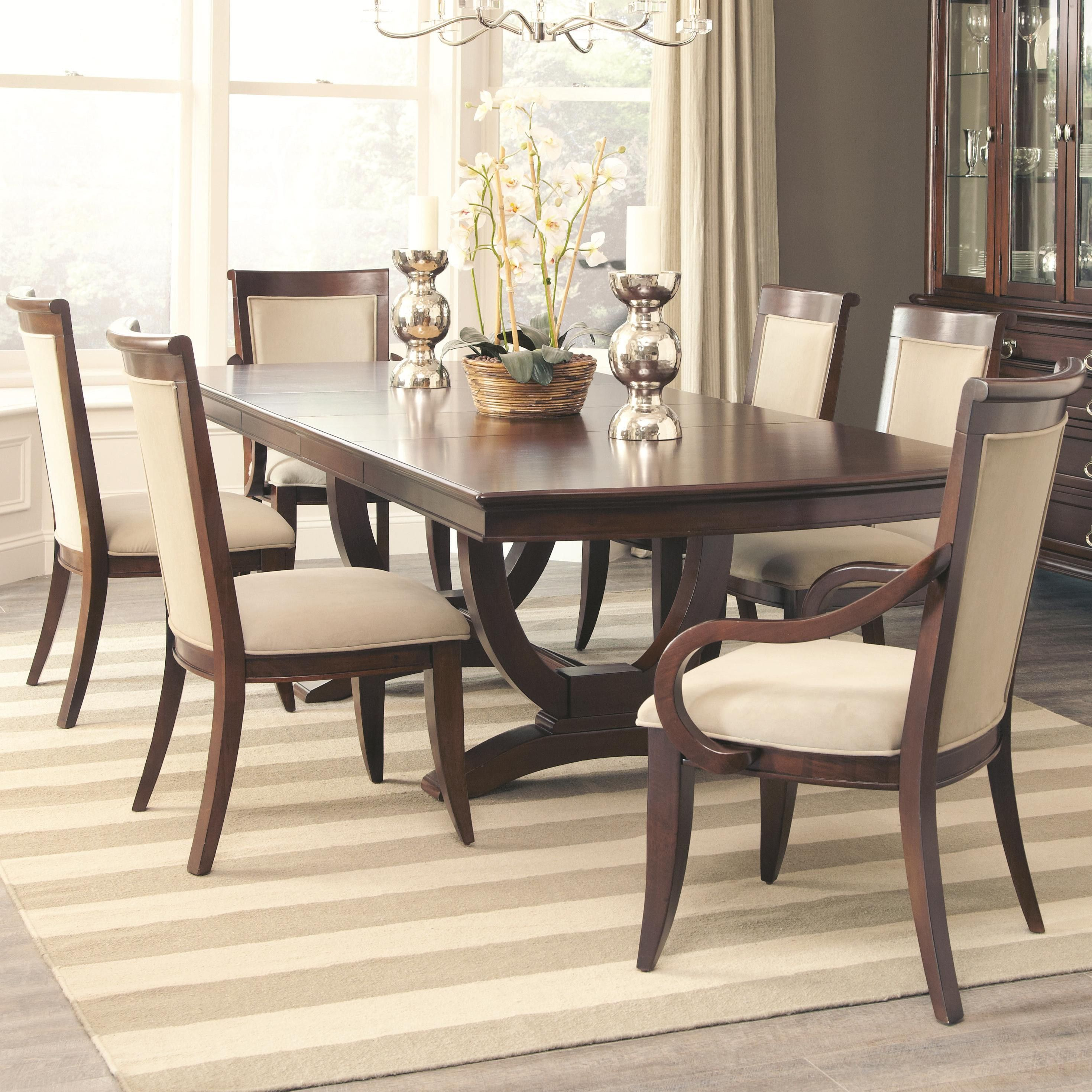 Coaster Alyssa 7 Piece Walnut Leaf Dining Table And Side Chair Set