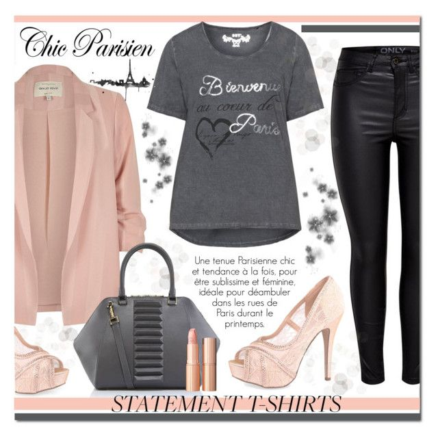 """""""Say What : Statement T-Shirts"""" by drinouchou ❤ liked on Polyvore featuring Lauren Lorraine, River Island, DNY, Kristina George, Charlotte Tilbury and statementtshirt"""