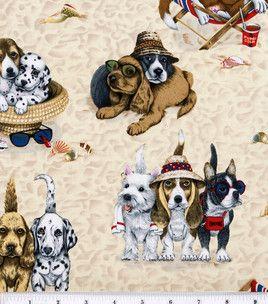 Novelty Cotton Fabric Dogs At The Beach Beach Fabric Dog Beach
