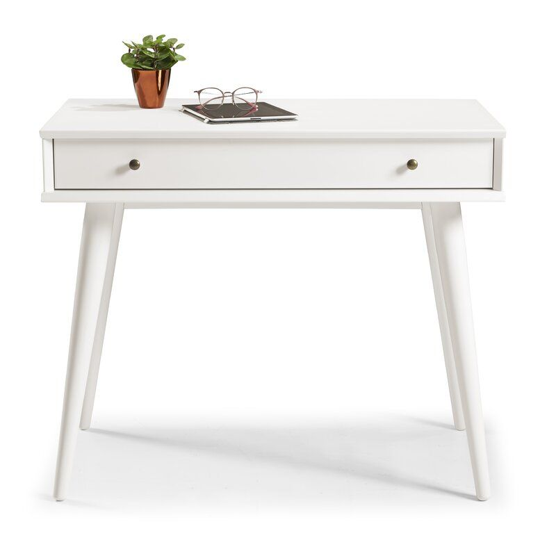 Aliyah Solid Wood Desk Solid Wood Desk Wood Desk Mid Century Mini Desk