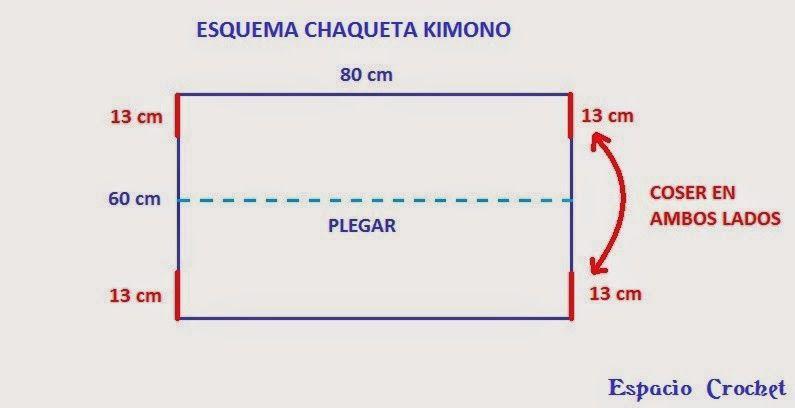 Patrones Crochet, Manualidades y Reciclado: Chaqueta kimono Paso a ...