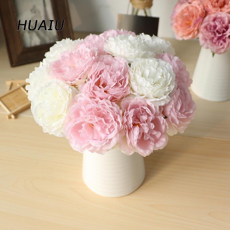 5 heads/ bunch Artificial Peony flowers Silk Flower bouquet DIY ...