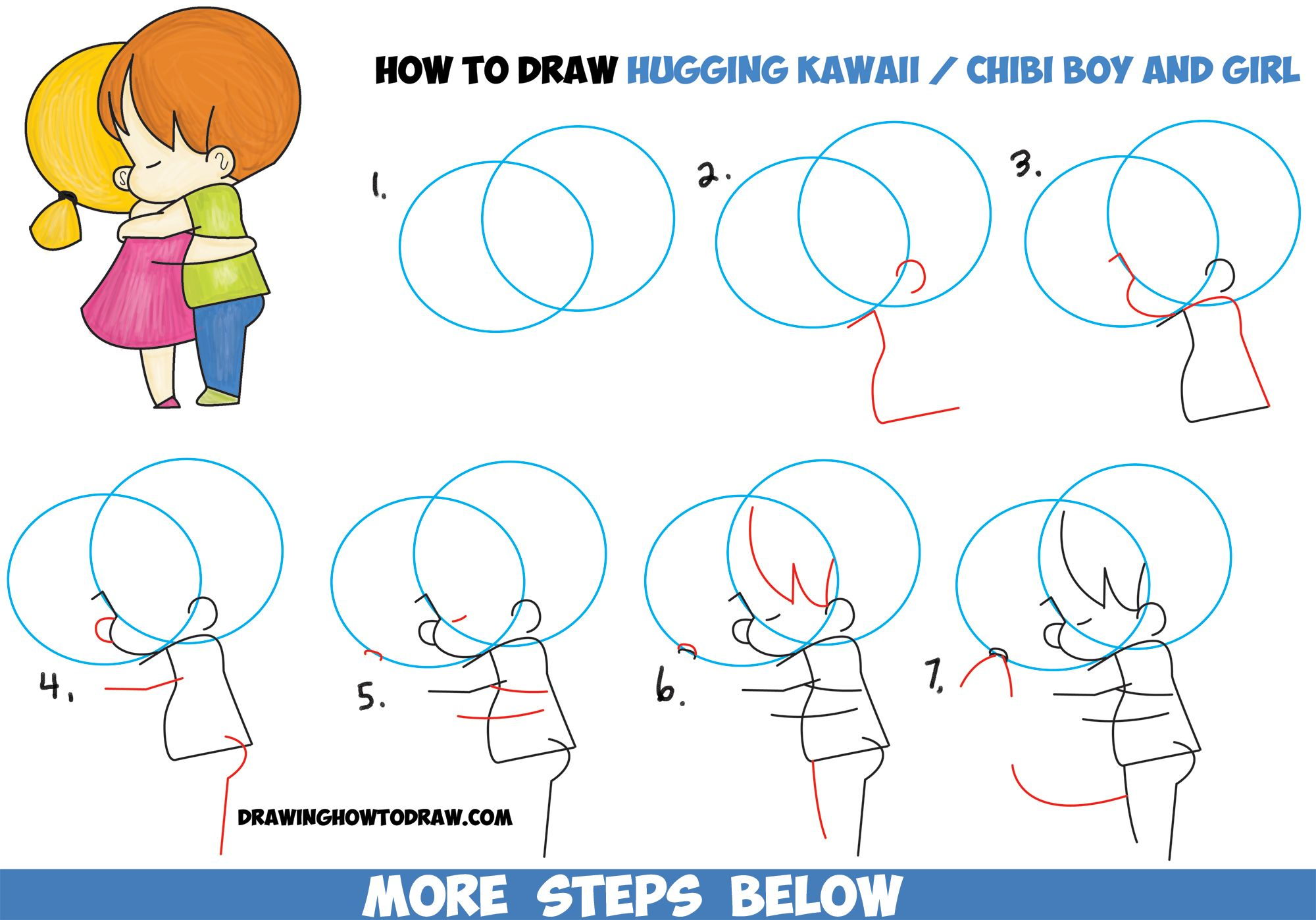 How To Draw Chibi Girl And Boy Hugging Cute Kawaii Cartoon Children Hugging In Easy Steps How To Draw Step By Step Drawing Tutorials Hugging Drawing Chibi Drawings Girl Drawing