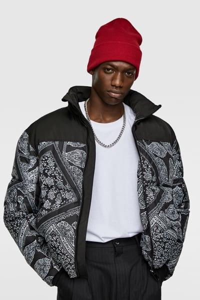 Zara Male Bandana Print Puffer Jacket Black Xl