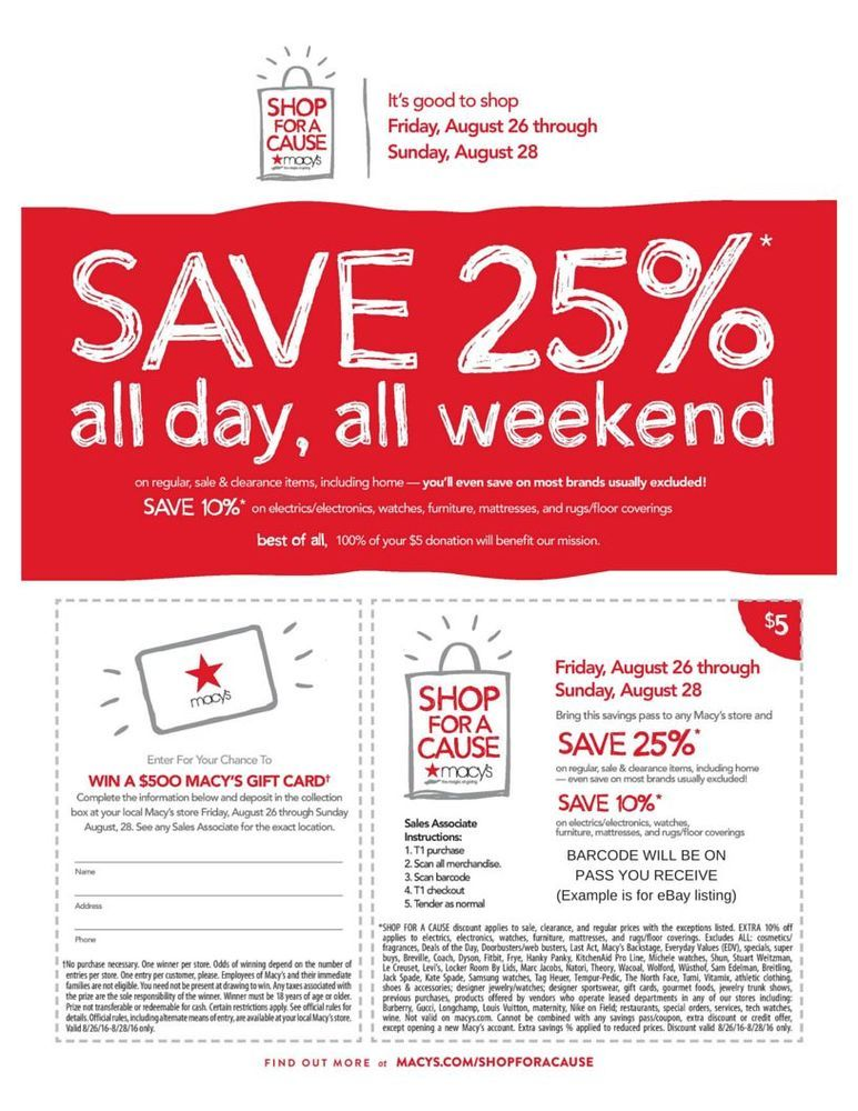 Macy S 25 Off Savings Pass Coupon 100 Charity 8 26 Thru 8 28 Shop For A Cause Charity Macys Empowerment