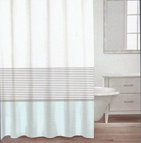 Amazon Com Caro Home Fabric Shower Curtain Teal White And