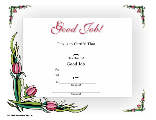 Pink tulips surround this printable certificate proclaiming good pink tulips surround this printable certificate proclaiming good job free to download and yelopaper Image collections