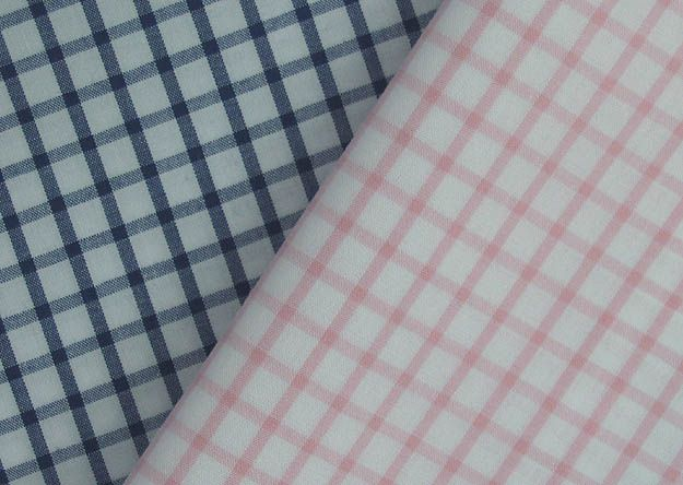 "45""+Pima+Cotton+Windowpane,+Light+Pink+and+Navy"