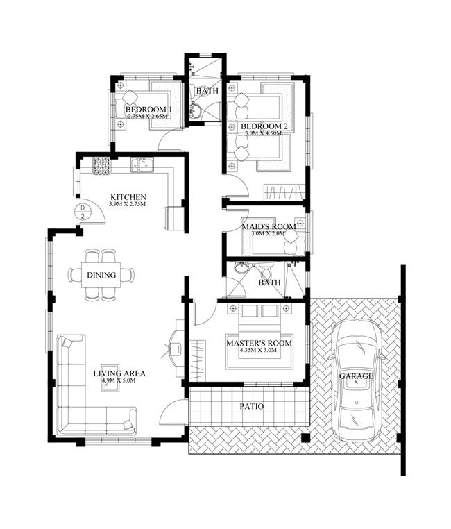 Small House Design Shd 2015014 Pinoy Eplans Bungalow House Floor Plans Home Design Floor Plans House Floor Plans