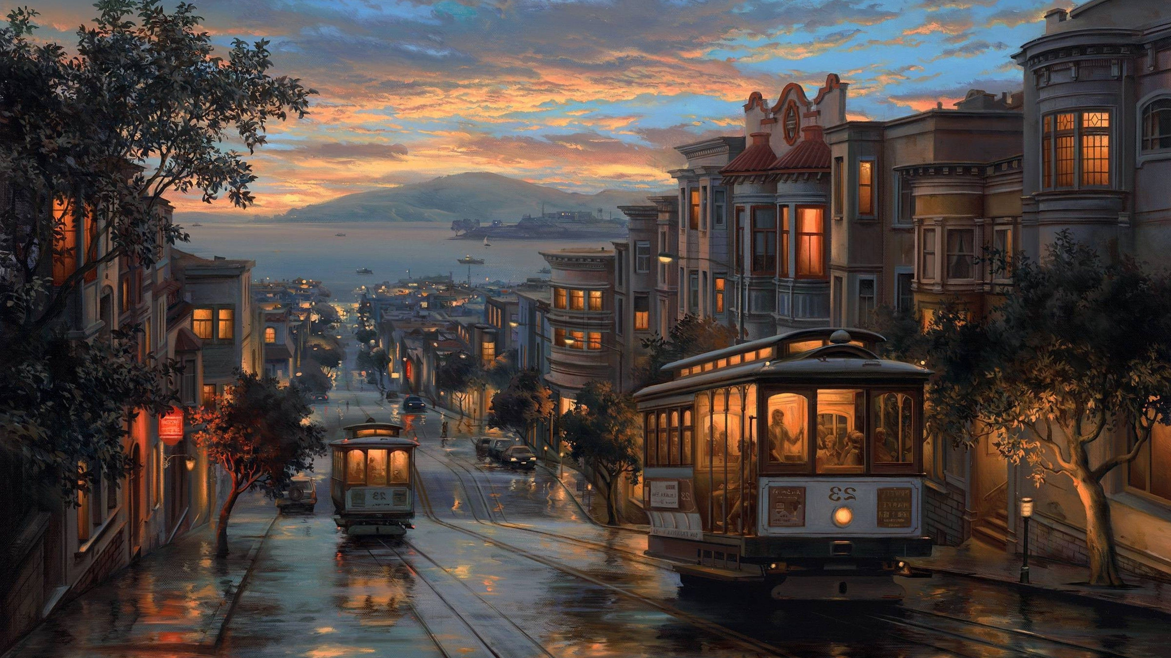 Rainy Night Artistic Painting 4k Train Wallpapers Painting Wallpapers Artist Wallpapers In 2020 San Francisco Wallpaper Rain Wallpapers Pretty Backgrounds