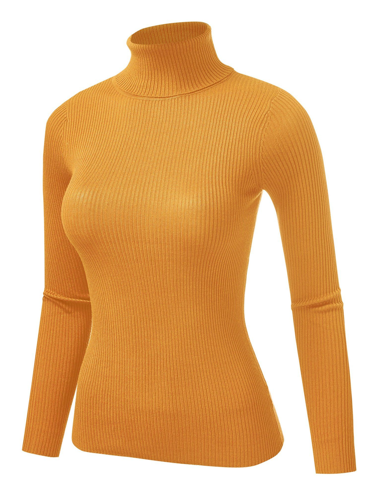 Women's Ribbed Knit Texture High Neck Long Sleeve Pullover Sweater (FWT1120) - Mustard / M