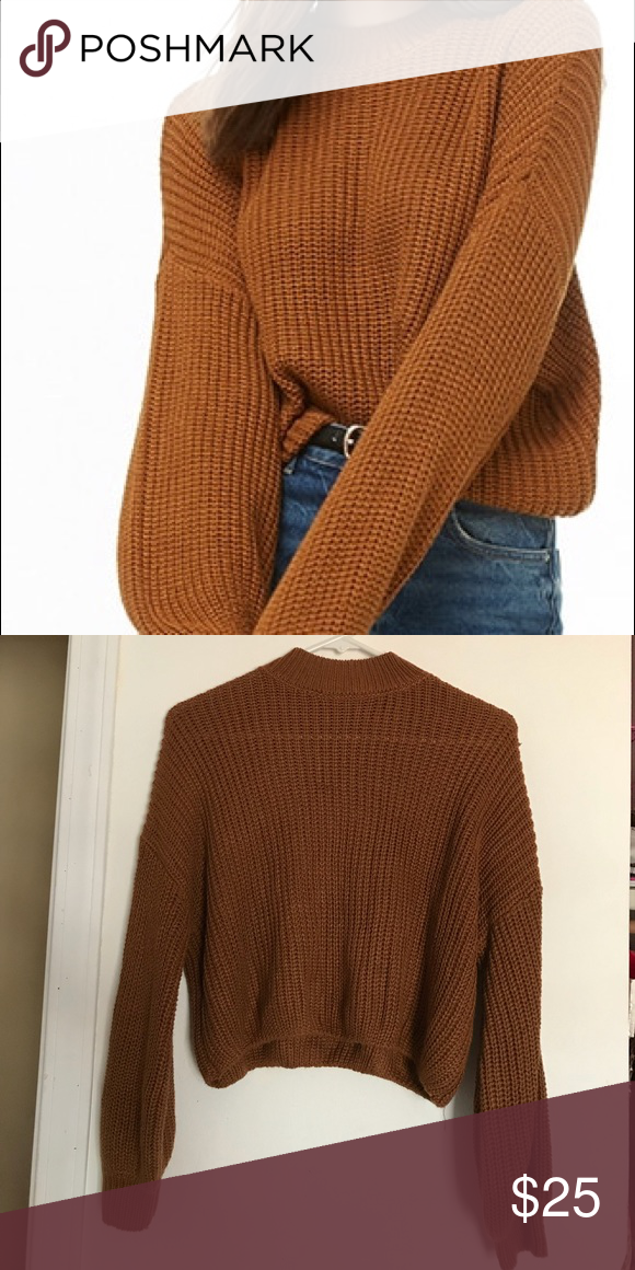 30d01921bc0a10 Ribbed knit mock neck sweater Forever 21 - Rust color - Ribbed - Mock neck  - Balloon sleeves Forever 21 Sweaters Crew & Scoop Necks