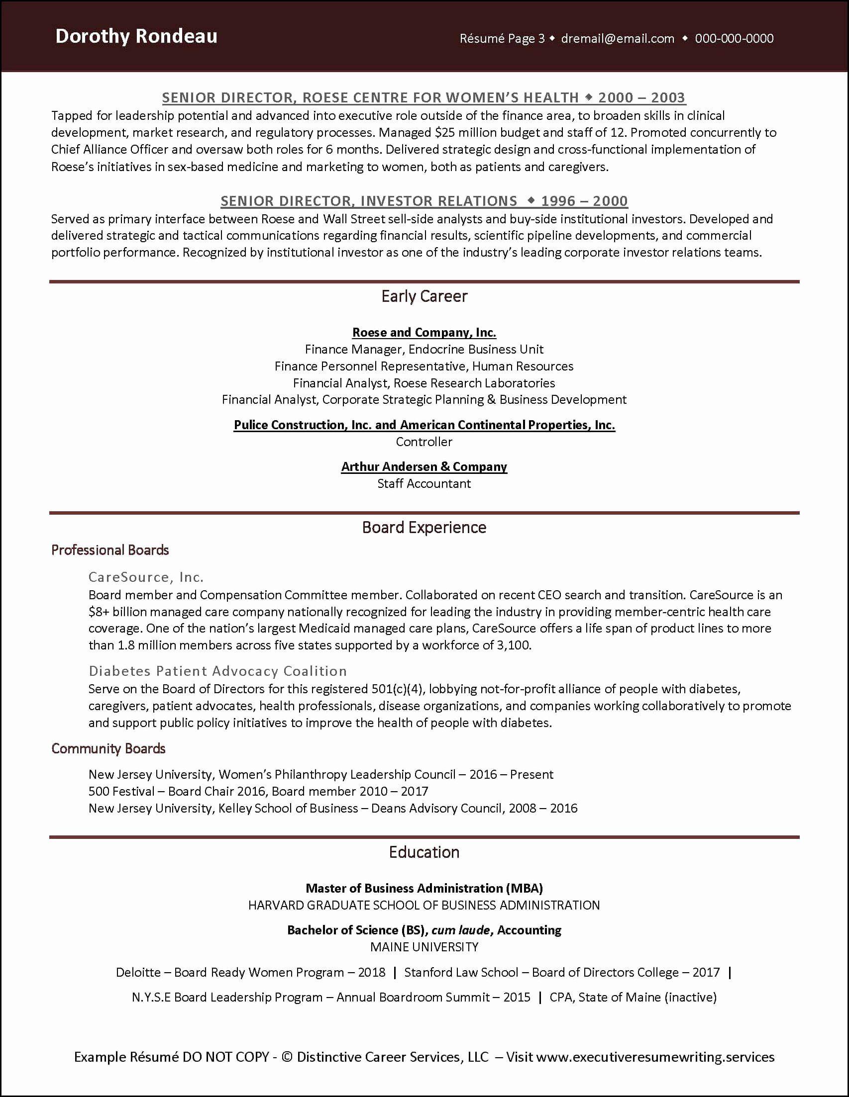 Board Of Directors Resume Unique Example Corporate Finance Executive Resume Pg 2 Board Of Directors Job Resume Samples Resume