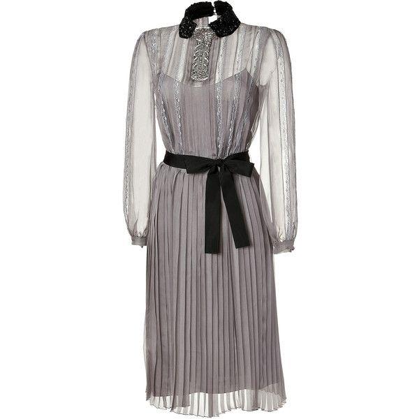 Grey Silk Chiffon Dress