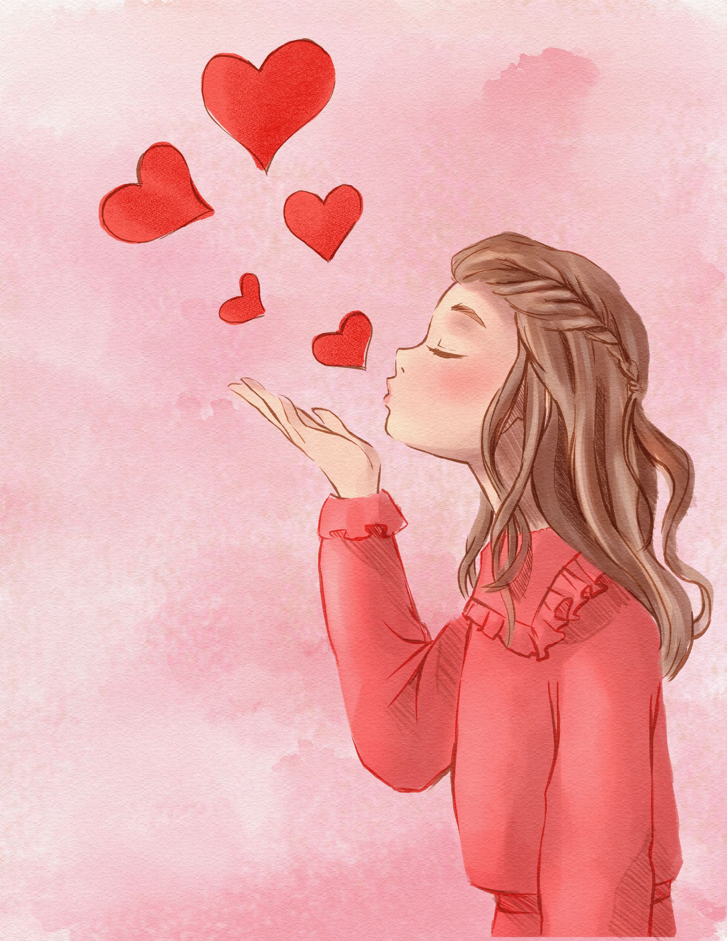You Are Loved In 2020 Kiss Art Blowing Kisses Illustration