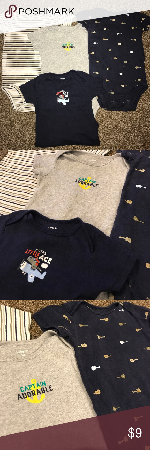 🎸Carter's 4-pack of onesies 🎸 All onesies are in great condition. Comes from a smoke and pet-free home. 🌺 bundle and save or make an offer 🌺 Carter's One Pieces Bodysuits