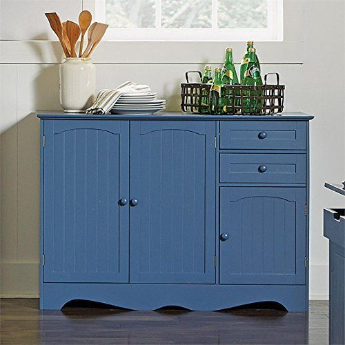 Brylanehome Country Kitchen Buffet Blue 0 Http Www Amazon Com Dp B018ekv9j8 Ref Cm Sw With Images White Kitchen Buffet Kitchen Buffet Cabinet Kitchen Buffet