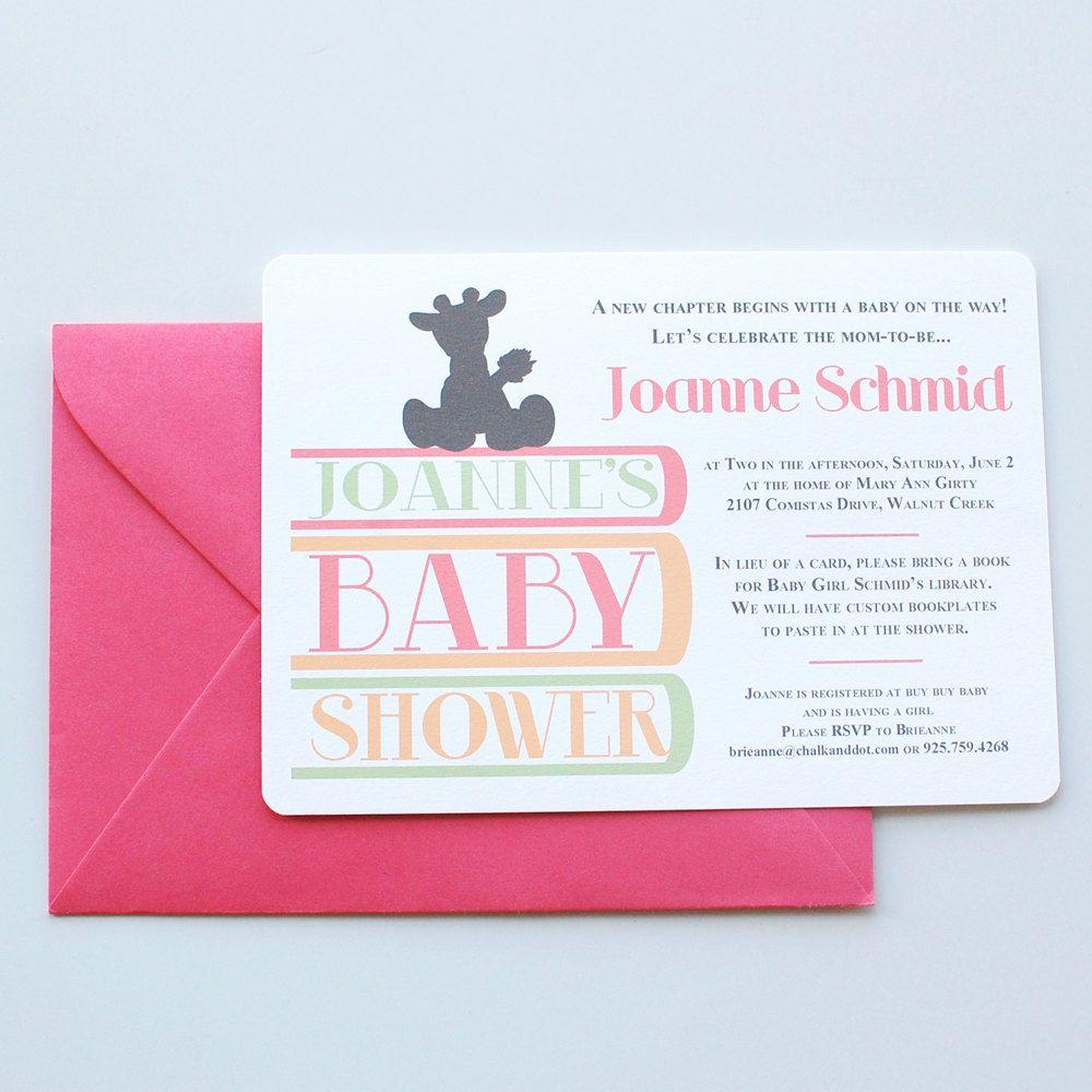 Custom Printable: Book Theme Baby Shower invite | Book themes ...