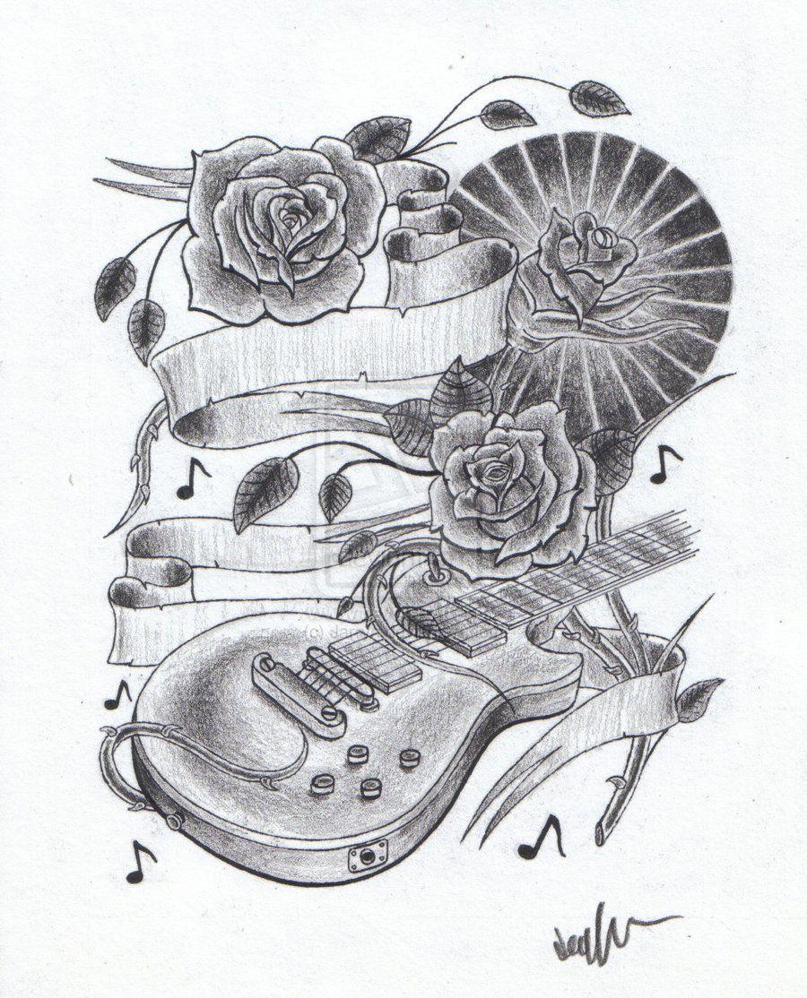 Tattoovorlagen Rosen Kostenlos Gitarre 1 Tattoo Designs Tattoos