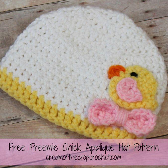 Cream If The Crop Crochet ~ Preemie Chick Applique Hat {Free Crochet ...