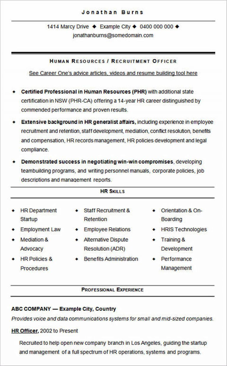 Hr Cv Samples Dokya Kapook Co
