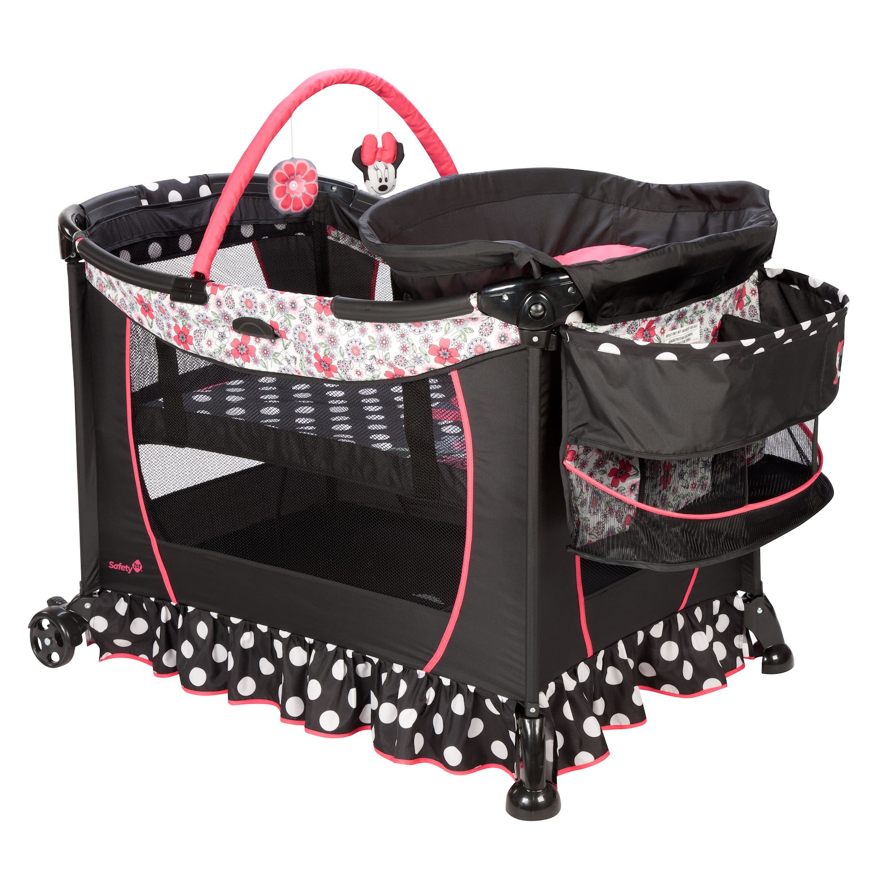Minnie Mouse Coral Flowers Care Center Play Yard From