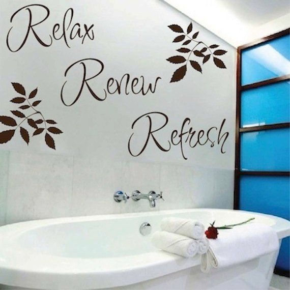 relax renew refresh vinyl wall quote - bathroom wall quotes - wall