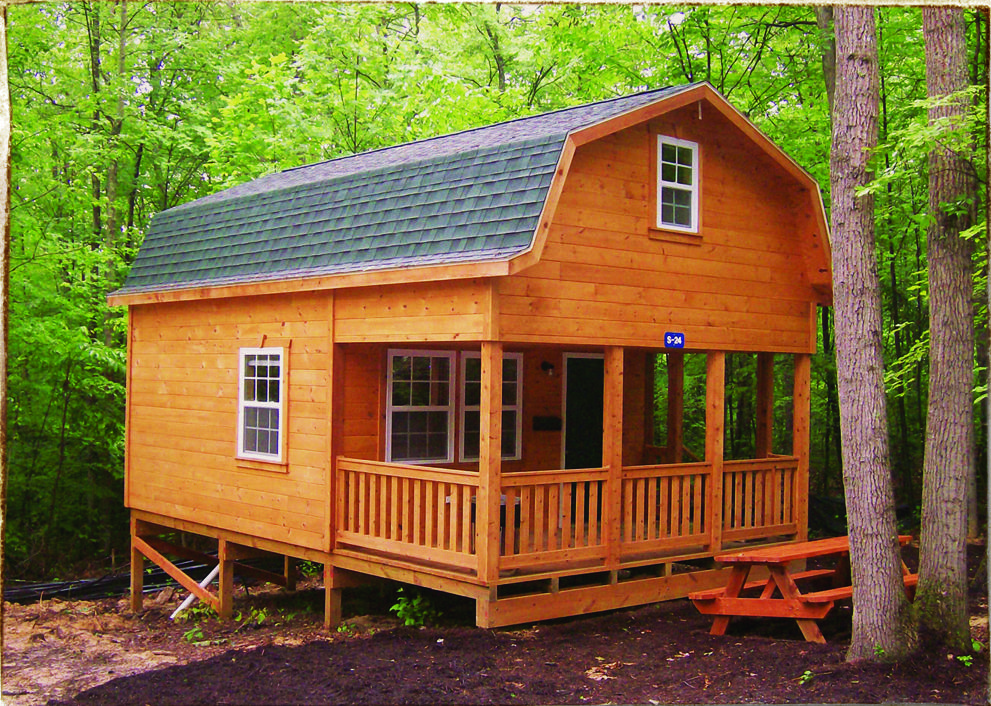 Gambrel Cabin With Porch Shed To Tiny House Cabins For