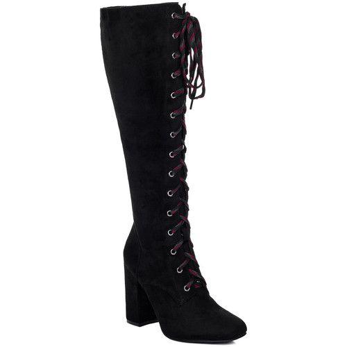 Spylovebuy BENGAL Femmes Lacet à Talon Bloc Bottes Classiques - Noir Noir - Chaussures Botte ville Femme