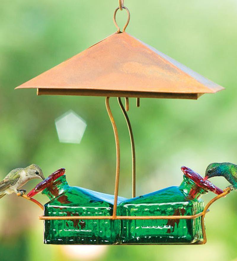 Handcrafted Tin Sheltered Basket Hummingbird Feeder in
