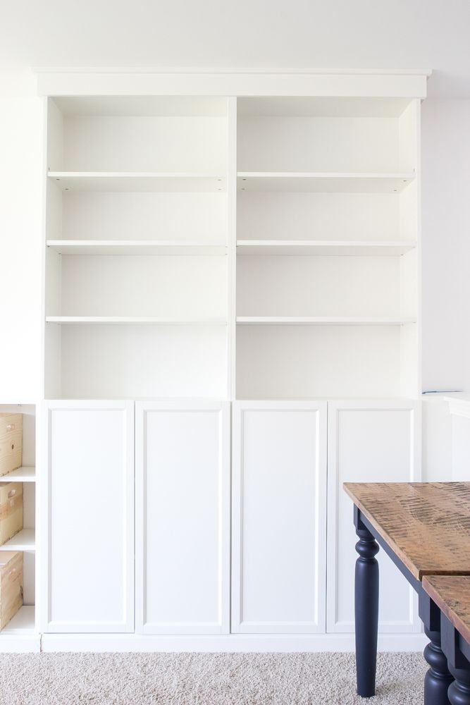 Diy built ins from ikea bookcases orc week 2 vertical for Diy built in shelves